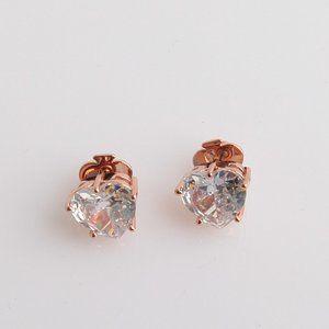 Kate Spade Rose Gold White Sapphire Heart Earrings